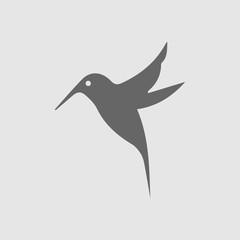 Hummingbird vector icon. Bird simple isolated sign silhouette. Hummingbird logo symbol.