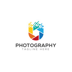 Photography creative logo design vector