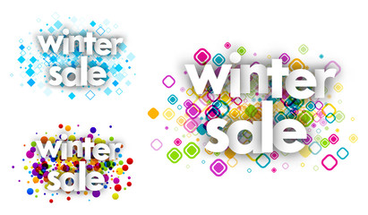 winter sale color banners