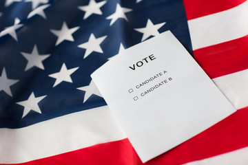 empty ballot or vote on american flag