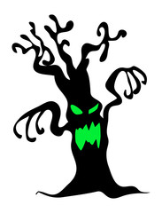 halloween creepy scary bare tree monster vector symbol icon desi