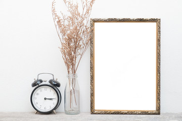 Gold vintage frame on wall