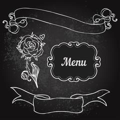 Vector illustration of floral design on blackboard