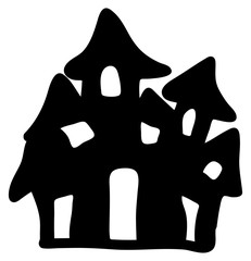 halloween creepy scary hounted house, vector symbol icon design.