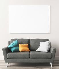 Divano grigio con cuscini 3d render