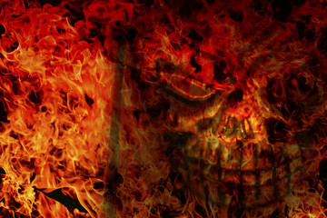 abstract of skull and frame of fire burning background