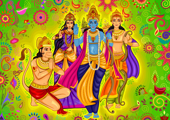 Indian God Rama with Laxman and Sita for Dussehra festival celebration in India