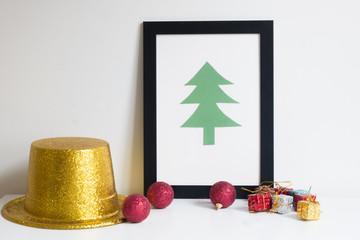 Christmas tree frame on table