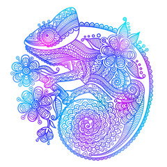 The outline vector illustration of a rainbow chameleon isolated on white background