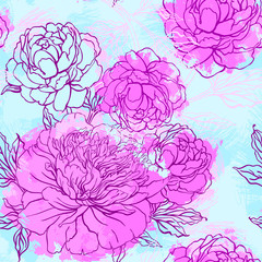 Elegant Seamless color peony pattern, vector illustration