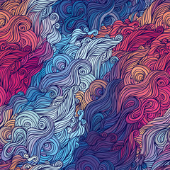 Vector color abstract hand-drawn hair pattern with waves and clo