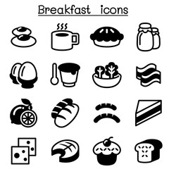 Breakfast icons set
