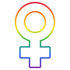 Lesbian symbol, rainbow flag Venus symbol isolated