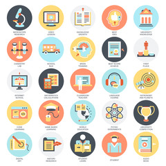Flat icons pack of internet education