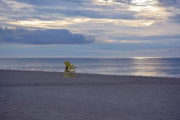 Lifeguard Stand on Beach at Sunrise