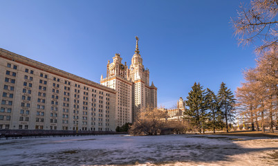 Wide angle view of spring sunny campus of Moscow University with dormitory