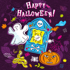Halloween greeting card with ghost, pumpkin, tombstone, net and