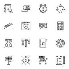 Set Of Project Management Icons On Deadline, Teamwork, Graph And More. Premium Quality EPS10 Vector Illustration For Mobile, App, UI Design.