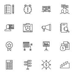 Set Of Project Management Icons On Promotion, Workspace, Graph And More. Premium Quality EPS10 Vector Illustration For Mobile, App, UI Design.