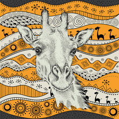 Hand draw giraffe portra on African hand draw ethno pattern, tribal background. Beautiful black woman. Profile view. Vector illustration