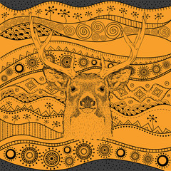 Hand draw deer portra on African hand draw ethno pattern, tribal background. Beautiful black woman. Profile view. Vector illustration