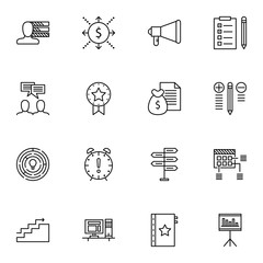 Set Of Project Management Icons On Award, Task List, Quality Management And More. Premium Quality EPS10 Vector Illustration For Mobile, App, UI Design.