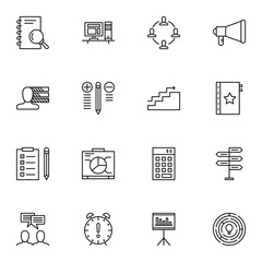 Set Of Project Management Icons On Workspace, Creativity, Deadline And More. Premium Quality EPS10 Vector Illustration For Mobile, App, UI Design.