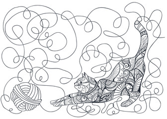 style Cat zentangl. Book for coloring. Vector