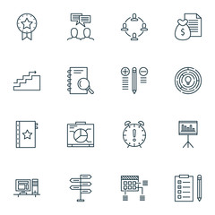 Set Of Project Management Icons On Creativity, Research, Statistics And More. Premium Quality EPS10 Vector Illustration For Mobile, App, UI Design.