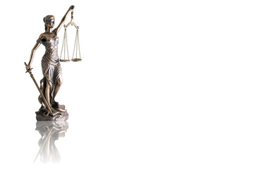 Lady justice or Themis with reflection  isolated on white background and space for text Wall mural
