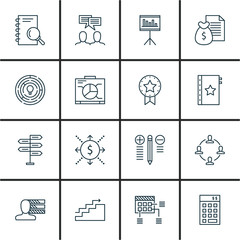 Set Of Project Management Icons On Statistics, Team Meeting, Planning And More. Premium Quality EPS10 Vector Illustration For Mobile, App, UI Design.