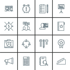 Set Of Project Management Icons On Task List, Statistics, Workspace And More. Premium Quality EPS10 Vector Illustration For Mobile, App, UI Design.