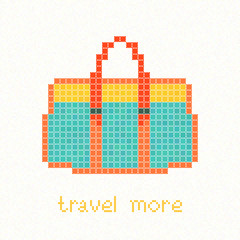 Travel more! Pixel art postcard. Green bag with orange straps and yellow top. Trendy hipster Handbag. Woman casual purse. Bright colored travel bag.