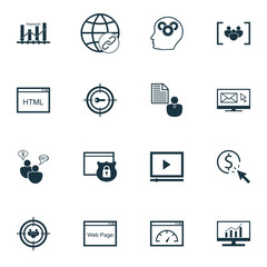 Set Of SEO, Marketing And Advertising Icons On Video Advertising, Link Building, Client Brief And More. Premium Quality EPS10 Vector Illustration For Mobile, App, UI Design.
