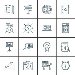 Set Of Project Management Icons On Workspace, Cash Flow, Personality And More. Premium Quality EPS10 Vector Illustration For Mobile, App, UI Design.