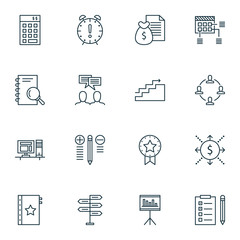 Set Of Project Management Icons On Cash Flow, Research, Statistics And More. Premium Quality EPS10 Vector Illustration For Mobile, App, UI Design.
