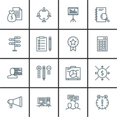 Set Of Project Management Icons On Task List, Deadline, Graph And More. Premium Quality EPS10 Vector Illustration For Mobile, App, UI Design.