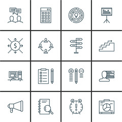 Set Of Project Management Icons On Team Meeting, Deadline, Task List And More. Premium Quality EPS10 Vector Illustration For Mobile, App, UI Design.