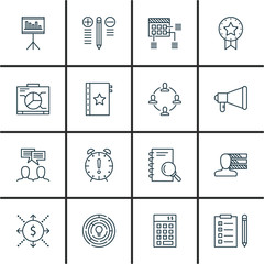 Set Of Project Management Icons On Planning, Research, Deadline And More. Premium Quality EPS10 Vector Illustration For Mobile, App, UI Design.