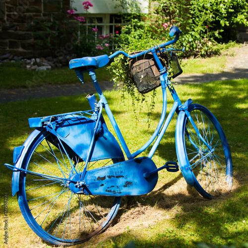 Blaues fahrrad als blumenhalter und dekoration im garten stock photo and royalty free images - Dekoration fahrrad ...