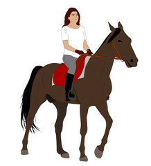 woman riding horse 2 - vector