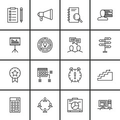 Set Of Project Management Icons On Teamwork, Workspace, Statistics And More. Premium Quality EPS10 Vector Illustration For Mobile, App, UI Design.