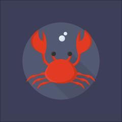 Crab icon vector. Sea life illustration. Crab Festival promotion icon. Decapod. Delicious seafood menu element.