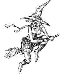 Halloween witch flying on broom handdrawn