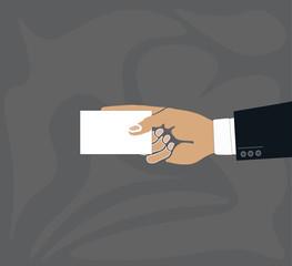 Hand holding blank plain white business card design mockup.