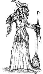Halloween witch handdrawn