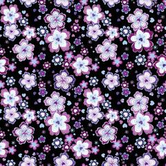 Fun Retro Floral Seamless Repeat Background - Black & Violet