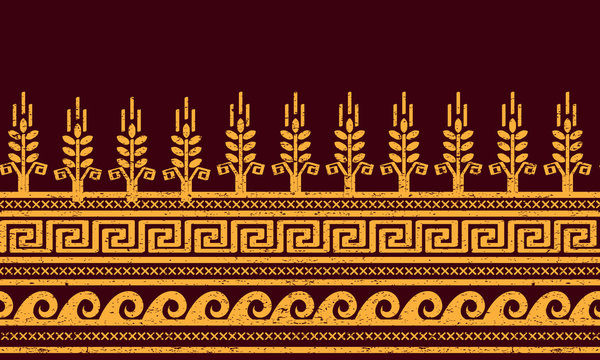 Ethnic seamless pattern. Wheat, meander, and water symbols.