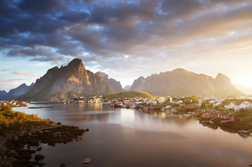 Garden Poster Scandinavia summer sunrise, Reine Village, Lofoten Islands, Norway