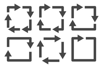Repetitive process icon with square arrows explanation. Icon reflect renewable energy, recycling, repeatable industry and business processes.